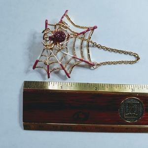 Spider Web Gold Enamel Brooch Pin